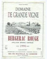 Etiquette Vin Bergerac Rouge Domaine De Grande Vigne 1990 - Bergerac