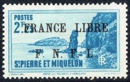 Langlade  2,25fr  Surchargé «France Libre/ F.N.F.L.»  Yv 269  * MH - St.Pierre Et Miquelon