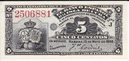 BILLETE DEL BANCO ESPAÑOL EN CUBA DE 5 CENTAVOS DEL AÑO 1896 SIN CIRCULAR-UNCIRCULATED (BANKNOTE) - Cuba