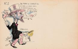 CPA Politique Caricature Satirique DEROULEDE / FALLIERES / BERENGER Exposition Illustrateur (2 Scans) - Satiriques