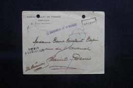 RÉUNION/ MAURICE - Enveloppe Du Vice Consulat De France De Port Louis Pour St Denis, Griffe Du Gouverneur 1916 - L 41484 - Réunion (1852-1975)