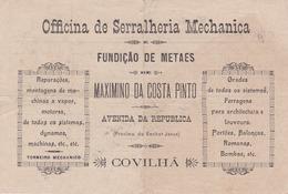 PORTUGAL - COVILHÃ   - COMMERCIAL DOCUMENT - OFICINA DE SERRALHARIA MECHANICA - MAXIMINO DA COSTA PINTO 1919 - Portugal