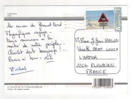 """Beau Timbre  """" Danger , Ours Blanc """" Sur CP , Carte , Postcard  """" Rennes Du Svalbard """"  Pour La France - Norvège"""