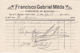 PORTUGAL - COVILHÃ   - COMMERCIAL DOCUMENT - FRANCISCO GABRIEL MEDA - FORNECEDOR DE MADEIRAS - 1924 - Portugal