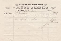 PORTUGAL - COVILHÃ   - COMMERCIAL DOCUMENT - OFICINA DE FUNILEIRO - 1931 - Portugal