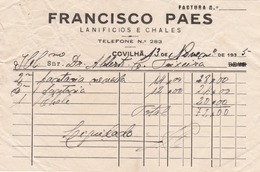 PORTUGAL - COVILHÃ   - COMMERCIAL DOCUMENT - FRANCISCO PAES - LANIFICIOS 1935 - Portugal