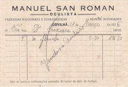 PORTUGAL - COVILHÃ   - COMMERCIAL DOCUMENT - MANUEL SAN ROMAN - OCULISTA - 1936 - Portugal