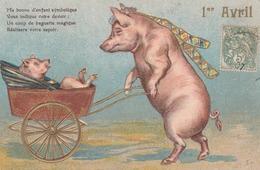 CPA Gaufrée Animal Humanisé Position Humaine Cochon Porc Pig Bonne D'Enfant Landau Embossed Illustrateur (2 Scans) - Cochons