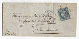 5 FEVRIER 1871 - 20c SIEGE - LETTRE ECRITE QUELQUES JOURS APRES LE SIEGE (TEXTE !) => VALENCIENNES - War 1870