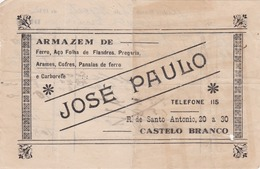 PORTUGAL - CASTELO BRANCO    - COMMERCIAL DOCUMENT - JOSE PAULO - ARMAZEM DE FERRO - 1932 - Portugal
