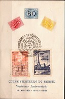 Postal History: Brazil Commemorative Card / Folhinha Comemorativa / With Overprinted Zeppelin Set - Zeppelins