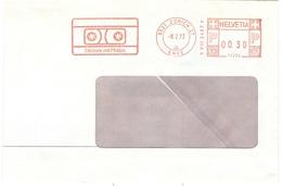 Red Meter Frankeer ATM 1973 12209 Zurich Enge 08.02.1973 Casstte Muziek Music Phillips Diktiere Speach Recording - Affranchissements Mécaniques