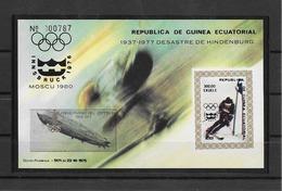 Guinée Equatoriale Bloc Surch. Zeppelin Et Logo Moscou Or Gold JO 80 ** - Summer 1980: Moscow