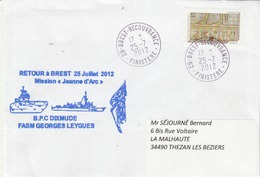 Mission JEANNE D'ARC 2010 BPC DIXMUDE Frégate FASM GEORGES LEYGUES  Retour à Brest 25/7/2012 - Postmark Collection (Covers)