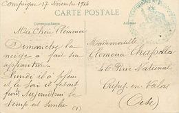 Themes Div-ref DD132-cachets - Guerre 1914-18-cachet Hopital Temporaire No 15- Compiegne -oise -carte De Champguyon - - WW I