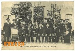 Société Musicale De Saint Clair - Fanfare Musiciens -les Enfants De St-clair 1900 -50 Manche- Carte Peu Courante - Frankreich