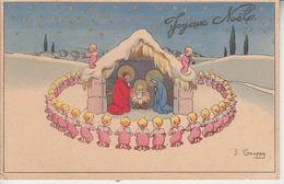 J. GOUPPY - Joyeux Noël ( Crèche Enfants Ange )  PRIX FIXE - Altre Illustrazioni