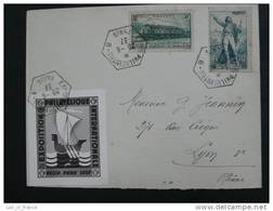 Lettre PEXIP 1937 Paris Avec Vignette Cinderella - Storia Postale