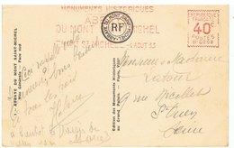 SUR CARTE ANCIENNE DU MONT-ST-MICHEL,FLAMME PUBLICITAIRE DU LIEU EN 1933-2 SCANS- - Mechanical Postmarks (Advertisement)