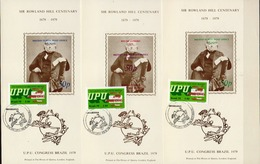 Postal History: Brazil 3 Different Commemorative Cards - U.P.U.
