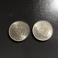 FRANCIA - FRANCE   2  Monete 1 Franco  1975 E 1976  Seminatrice - France