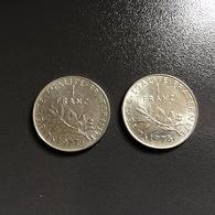 FRANCIA - FRANCE   2  Monete 1 Franco  1977 E 1978  Seminatrice - France