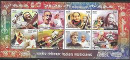 INDIA, 2014, MNH,MUSIC, MUSICIANS, INDIAN MUSICAL INSTRUMENTS, SHEETLET - Musik