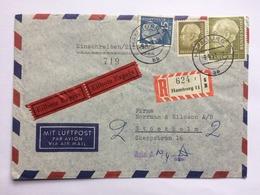 GERMANY 1957 Air Mail Express Cover Registered Hamburg To Stockholm - + Avis Cachet - [6] République Démocratique