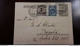 O) 1927 COLOMBIA, AEROMIS, SCADTA - PLANE OVER MAGDALENA RIVER SC C28 20c, ARMS OVERPRINTED SURCHARGE 1c, ARMS 3c, FROM - Colombie