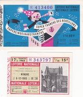 2 Billets De Loterie  De 1965 - Super Tranche Des Reveillons + Ninove - Billets De Loterie