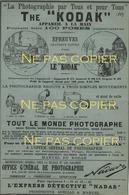 Pub THE KODAK 1889 Journal La Nature Feuille Originale - Photos