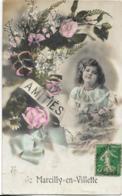 D45 - MARCILLY EN VILLETTE-AMITIES DE MARCILLY EN VILLETTE-Carte Fantaisie Glacée Colorisée-Fillette-Fleurs-Noeud - France