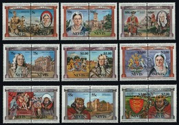Nevis, 1984 English Monarchs, 18 Stamps - Royalties, Royals