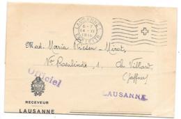 LETTRE EN FRANCHISE..LAUSANNE EXP LETTR..1918..   OFFICIEL...LAUSANNE..1918.  BORDEREAUX CONTRIBUTION1918. - Franchise