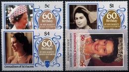 Grenadines Of St Vincent, 1986, 60 Years Elizabeth  II, 4 Stamps - Royalties, Royals