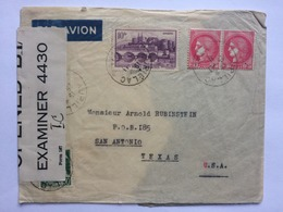 FRANCE 1942 Air Mail Cover Bielac To San Antonio Texas USA With Censor Tape - Storia Postale