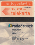 YUGOSLAVIA(Autelca) - Telecom Logo 200 Units(muflon Radece)(radece Papir On Reverse), CN : 8 Digits, Used - Joegoslavië