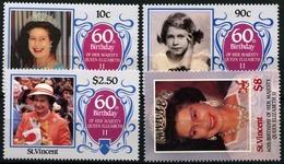St.Vincent 1986, 60 Years Elizabeth  II, 4 Stamps - Royalties, Royals