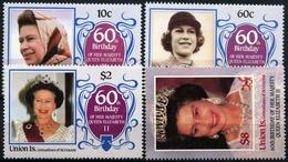 Union Grenadines St.Vincent 1986, 60 Years Elizabeth  II, 4 Stamps - Royalties, Royals