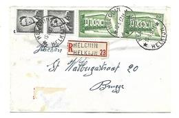 Sterstempel / Cachet Etoile/relais  *  HELCHIN/HELKIJN *  Op Recom.  15.6.1957 Boudewijn/Marchand 1,50 Fr + Europa - Lettres & Documents