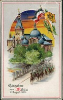 Mitau Jelgava Елгава Patriotika Soldaten Stadt 1915 Prägekarte - Lettonie