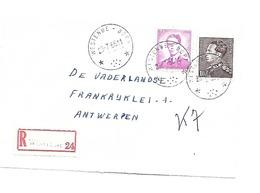 Sterstempel / Cachet Etoile/relais  * WESTENDE-DORP *   23.7.1966   Recom. Boudewijn/Marchand  Front/voorzijde - Belgique