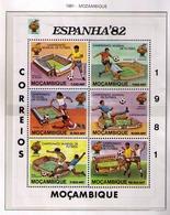 MOZAMBIQUE 1981 - CAMPEONATO DEL MUNDO DE FUTBOL ESPAÑA'82 - I MINI SHEET YVERT Nº 782/787** IMPERFORATE - 1982 – Espagne