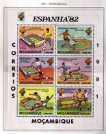 MOZAMBIQUE 1981 - CAMPEONATO DEL MUNDO DE FUTBOL ESPAÑA'82 - I MINI SHEET YVERT Nº 782/787** IMPERFORATE - Mozambique