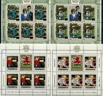Penrhyn, Diana & Charles,4 Sheets Overprinted 1984 Years 80 Euro - Koniklijke Families