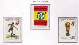 ECUADOR 1981 - CAMPEONATO DEL MUNDO DE FUTBOL ESPAÑA '82 - YVERT PA 734/736** - Ecuador