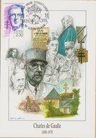 CARTE TIMBRE   1992 UNF PAGE D'HISTOIRE (LOON PLAGE) CHARLES DE GAULLE  VOIR PHOTOS - Marcophilie (Lettres)