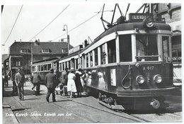 Katwijk Blauwe Tram Naar/to Leiden Den Haag Tramway Strassenbahn Trolley Station Bahnhof NZH 1960's - Katwijk (aan Zee)