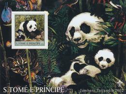 S. TOME & PRINCIPE 2003 - Pandas & Scouts S/s - Sao Tome Et Principe
