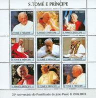 S. TOME & PRINCIPE 2003 - Pope John Paul II 9v - Sao Tome And Principe